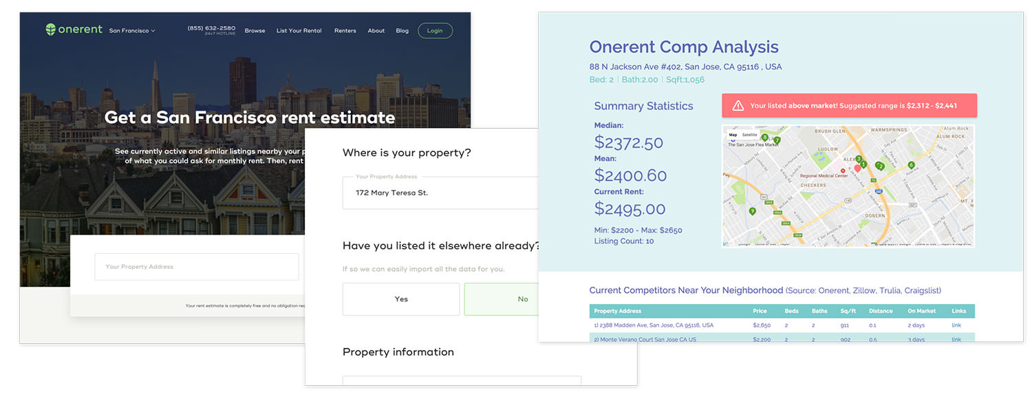 rent estimate and owner onboarding flow desktop