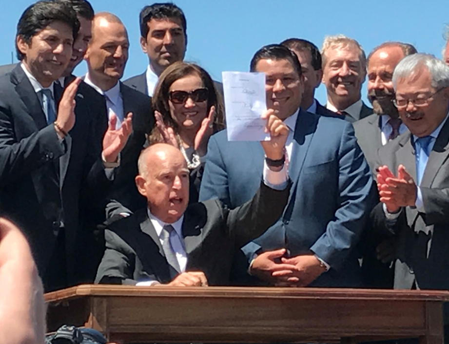 california governor jerry brown passes senate bill 2 housing