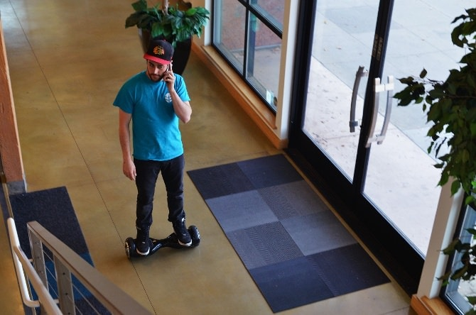 hoverboard in the office